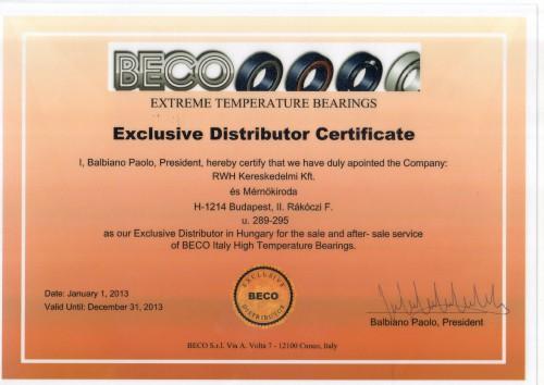 BECO distributori certificate 2